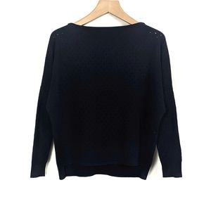 Vince Cashmere Boatneck Perforated Dolman Sweater